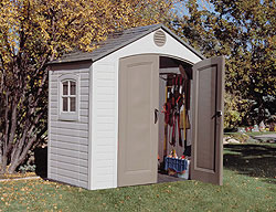 Lifetime 8 39 x 5 39 outdoor storage shed with window for Garden shed 8x5