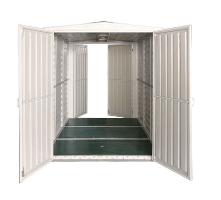 5 x 8 YardMate Vinyl Shed w/Double Doors Front and Back