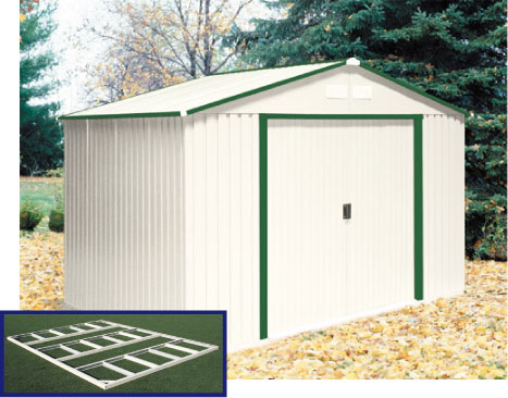 DuraMax 10' x 8' Del Mar Metal Shed W/Foundation— Green Trim