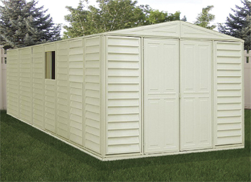 10 x 18 Woodbridge Vinyl Storage Shed with Foundation Kit