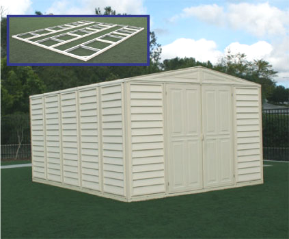 10.5 x 13 Woodbridge Vinyl Shed with Foundation, FREE Skylight