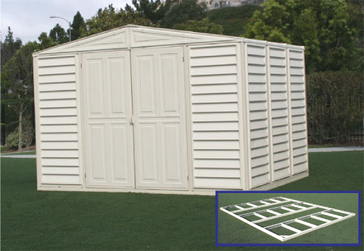 10.5 x 8 Woodbridge Vinyl Storage Shed w/Foundation & Skylight