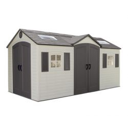 15ft x 8ft Lifetime Dual Entry Storage Shed &  FREE Tool Corral