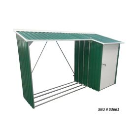 8 X 3 Metal Woodstore Combo Green w/Off White Trim